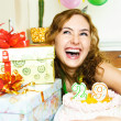 Pretty girl celebrating birthday - Stock Photo