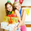 Girls celebrating birthday — Stok fotoğraf