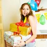 Happy girl celebrating her birthday — Stock Photo