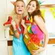 Two girls celebrating birthday — Stock Photo