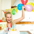 Girl celebrating birthday - Stock Photo