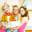 Three girls celebrating birthday — Stock fotografie