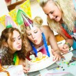 Three girls celebrating birthday — Foto de Stock