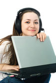 Young woman with a laptop — Stock Photo