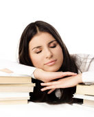 Student sleeping on the books — Stock Photo