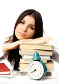 Tired student with books — Stock Photo