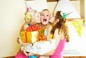 Three girls celebrating birthday — Stock Photo