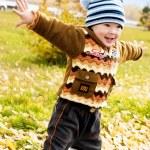 Boy with a football ball — Stock Photo