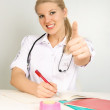 Doctor with her thumb up — Stock Photo