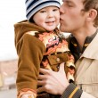Father kissing his son — Stock Photo