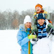 Happy family outdoor - Stock Photo