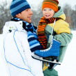 Father and son go ice skating — Stock Photo #1891181