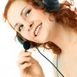 Woman wearing earphones — Stock Photo