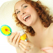 Happy young woman on vacation with tropical cock — Stock Photo #1892820