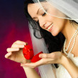 Yougn bride with a wedding ring - Stock Photo