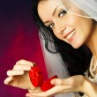 Beautiful bride with a wedding ring - Stock Photo