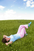 Relaxing girl outdoor — Stock Photo