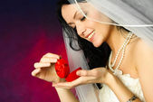 Yougn bride with a wedding ring — Stock Photo