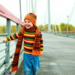Boy on on the bridge — Stock Photo