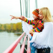 Mother and son on the bridge — Stock Photo