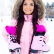 Girl going to ice skate — Stock fotografie