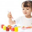 Little girl painting with watercolor — Stock Photo #1904522
