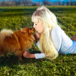 Girl with a dog — Stock Photo #1904703