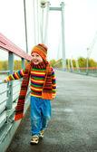 Boy on on the bridge — Stock Photo