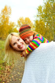 Mother and son in the park — Stock Photo