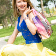 Girl with a shopping bag — Stock Photo