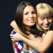 Two happy young embracing friends — Stock Photo #1916724