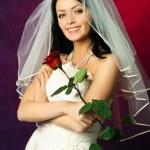 Sexy brunette bride — Stock Photo