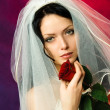 Beautiful brunette bride with a red rose — Stock Photo