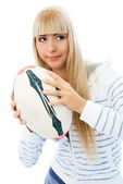 Beautiful concentrated girl with a ball — Stock Photo