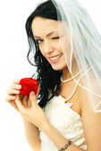 Bride with a wedding ring — Stock Photo