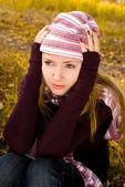 Depressed girl in the park — Stock Photo