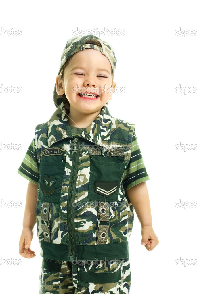 Portrait of a cute excited three year old boy dressed in camouflage  Stock Photo #1916992