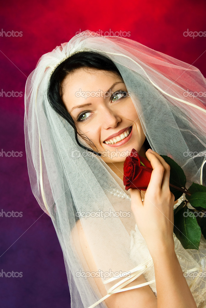 Studio portrait of a beautiful brunette bride with a red rose in her hands  Stock Photo #1917494