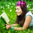 Pretty girl reading a book — Stock Photo