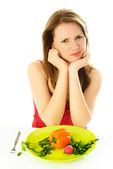 Displeased woman keeping a diet — Stock Photo