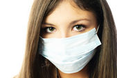 Woman wearing a protective mask — Stock Photo