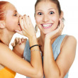 Two gossiping girls — Stock Photo