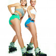 Girl with rollerskates — Stock Photo