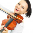 Happy girl playing the violin — Stock Photo