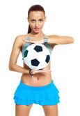 Girl with a football ball — Stock Photo