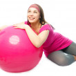 Woman with a fitness ball — Stock Photo