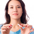 Young woman breaking a cigarette — Stock Photo