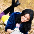 Pretty student in the park — Stock Photo