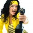 Excited woman with a drill — Stock Photo
