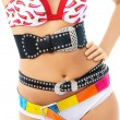 Royalty-Free Stock Photo: Young woman wearing underwear and three belts